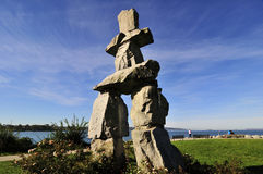 Inukshuk stone landmark. At English Bay, Vancouver, British Columbia, Canada stock image