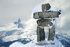Inukshuk at the summit of Whistler mountain Stock Images