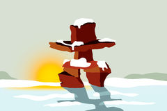 Inukshuk at sunset. Vector illustration of Inuit Inukshuk used as landmarks to communicate and navigate in the Arctic Circle Stock Photos