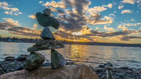 Inukshuk  in the sunset Stock Photo