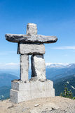 Inukshuk. At the top of Whistler Mountain, near Vancouver in British Columbia, Canada royalty free stock image
