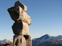 Inukshuk on Whistler Mountain. This is the massive Inukshuk monument built at the summit of Whistler Mountain in Whistler, B.C., home of the 2010 Winter Olympic Stock Photo