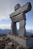 Inukshuk on whistler mountain summit bc canada Royalty Free Stock Image