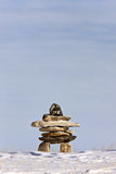 Inukshuk in Winter Canada. Snow Stock Photography