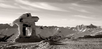 Inuksuk. An inuksuk, a tradtional monument of the northern inuit, stands at the top of Whistler Mountain Stock Image