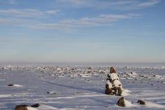 Inuksuk Inukshuk along the coastline north of Arviat. Nunavut Stock Photos