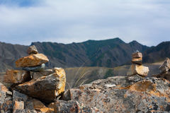 Inuksuk in Siberian Altai Mountains Royalty Free Stock Photography