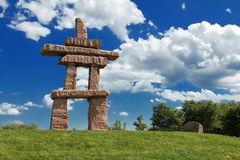 Inuksuk. Stone landmark in Toronto, Ontarion, Canada Royalty Free Stock Images