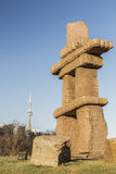 Inuksuk Towers the CN. Inuksuk Park in downtown Toronto with the CN Tower in the background Royalty Free Stock Images