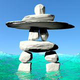 Inuksuk in water Royalty Free Stock Photos