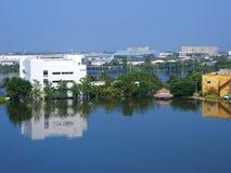 inundação da água na propriedade industrial fotografia de stock