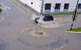 Inundação da rua Imagens de Stock