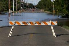 Inundação do ponto alto do perigo Foto de Stock