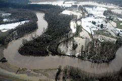 Inundação do rio de Cowlitz, estado de Washington Fotos de Stock Royalty Free