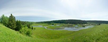 Inundação do rio. Panorama. Fotos de Stock Royalty Free