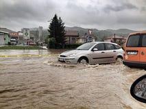 Inundação em Bósnia Fotografia de Stock