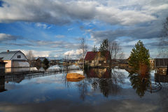 Inundação em Krasavino Fotografia de Stock