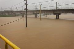 Inundação em Manila, Filipinas fotografia de stock