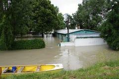 Inundação extraordinária, em Danube River em Bratislava fotos de stock