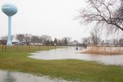 Inundação Luna Pier Michigan Fotos de Stock