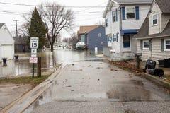 Inundação Luna Pier Michigan Fotografia de Stock Royalty Free