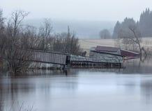 Inundação no rio imagem de stock
