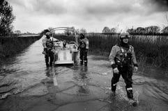 2014 inundações BRITÂNICAS Muchelney Imagem de Stock