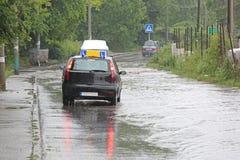 Inundações da escola de condução fotografia de stock