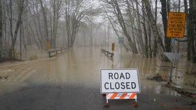 Inundações do rio de Skokomish da chuva pesada Fotografia de Stock