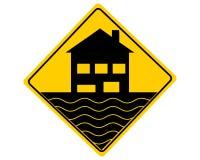 Inunda??o do sinal de aviso do tr?fego no branco ilustração royalty free