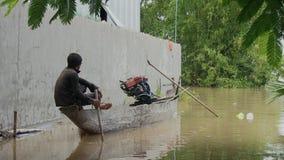 Inundación, barco, el Mekong, Camboya metrajes