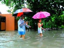 Inundación causada por el tifón Mario (nombre internacional Fung Wong) en las Filipinas el 19 de septiembre de 2014 Imágenes de archivo libres de regalías