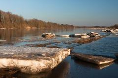 Inundación de la primavera en el río de Lielupe Foto de archivo libre de regalías