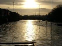 Inundación del camino de la isla de Foss Imagen de archivo libre de regalías
