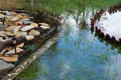 Inundación del patio trasero en la Florida Imagenes de archivo