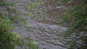 Inundación después de la lluvia de la estación de la monzón en Phnom Penh, Camboya almacen de metraje de vídeo