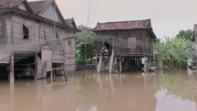 Inundación, el Mekong, Camboya almacen de metraje de vídeo