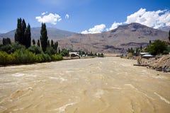 Inundación en área poblada Foto de archivo