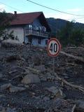 Inundación en Bosnia Imágenes de archivo libres de regalías