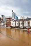 Inundación en Francfort Fotos de archivo libres de regalías