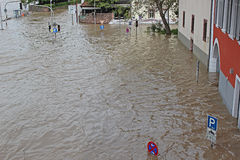 Inundación en Heidelberg Imágenes de archivo libres de regalías