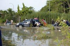 Inundación en Karawang Foto de archivo