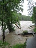 Inundación repentina. Desastre natural. Camino devastado fotos de archivo libres de regalías