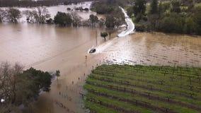 Inundación rusa del río El condado de Sonoma, CA 27 de febrero de 2019 metrajes