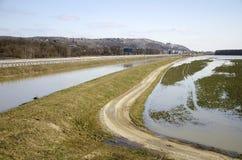 Inundación y río fotografía de archivo