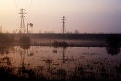 Inundaciones en el campo fotos de archivo libres de regalías