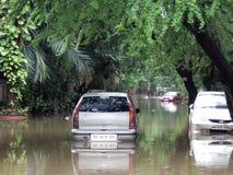 Inundaciones en la India Imágenes de archivo libres de regalías