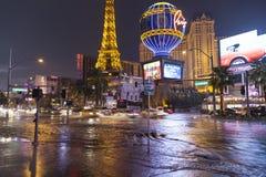 Inundando em Las Vegas Boulevard em Las Vegas, nanovolt o 19 de julho, 201 Imagem de Stock Royalty Free