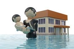 A inundação, homem é a criança do salvador Imagens de Stock Royalty Free