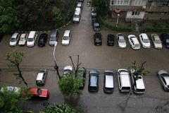 Inundation. Cars in big water flood in Bucharest, after the rain. Picture taken  in 05.05.2014 Royalty Free Stock Images